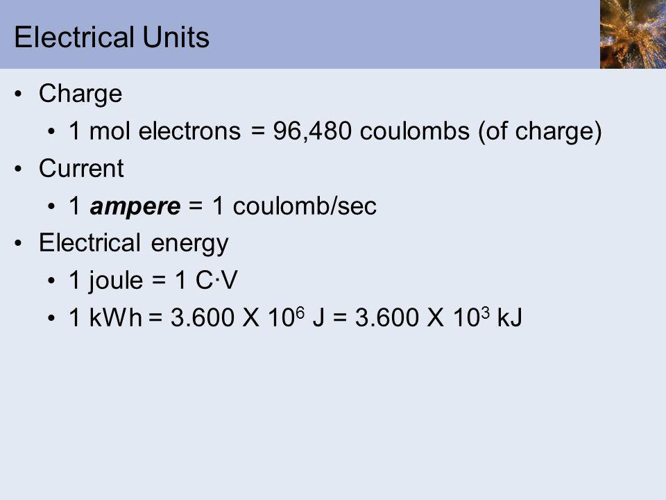 Electrical Units Charge 1 mol electrons = 96,480 coulombs (of charge)