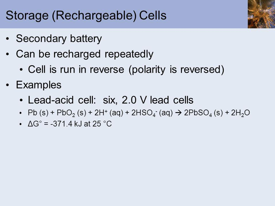 Storage (Rechargeable) Cells