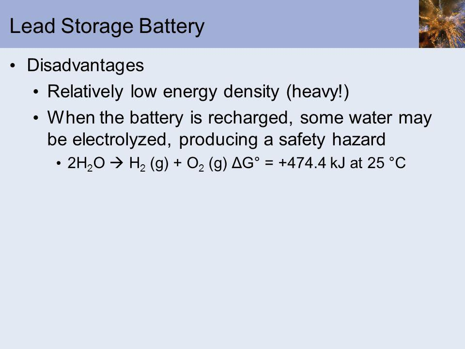 Lead Storage Battery Disadvantages