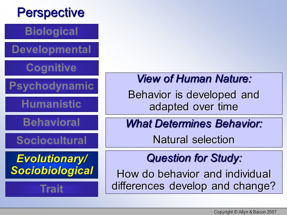 Evolutionary/ Sociobiological