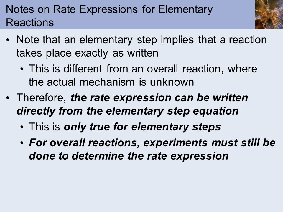 Notes on Rate Expressions for Elementary Reactions