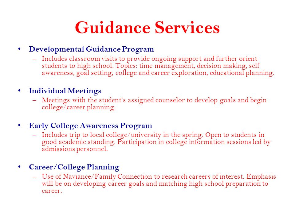 Guidance Services Developmental Guidance Program Individual Meetings