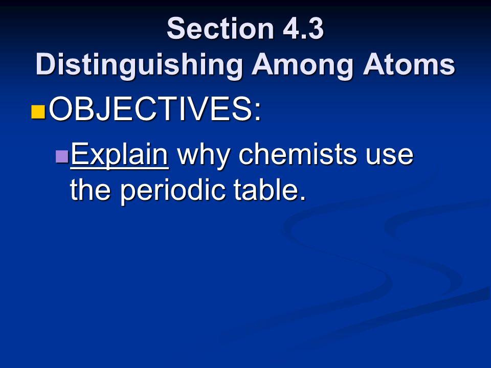 Section 4.3 Distinguishing Among Atoms