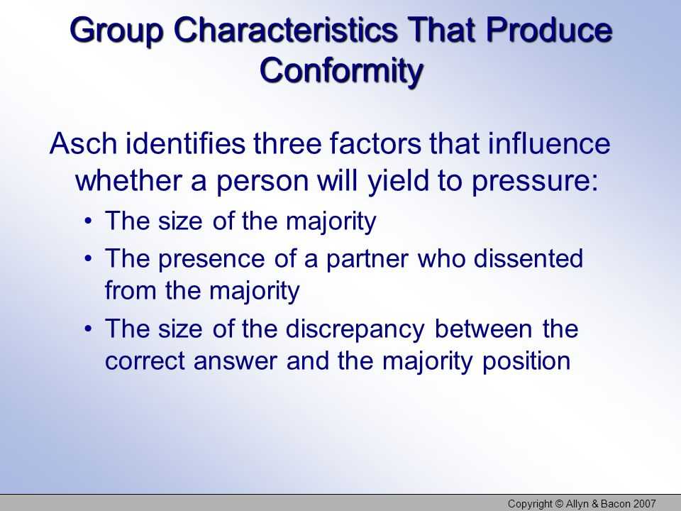 Group Characteristics That Produce Conformity