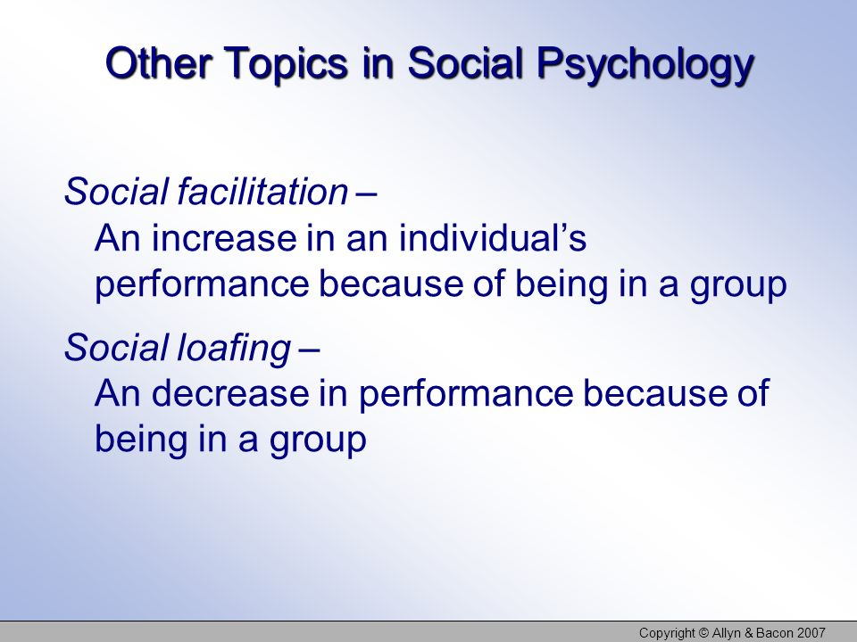 Other Topics in Social Psychology
