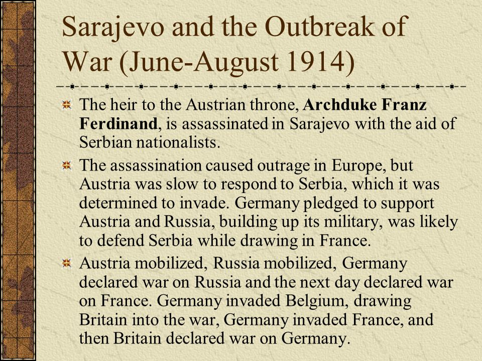 Sarajevo and the Outbreak of War (June-August 1914)