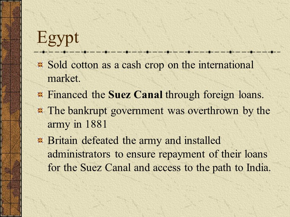 Egypt Sold cotton as a cash crop on the international market.
