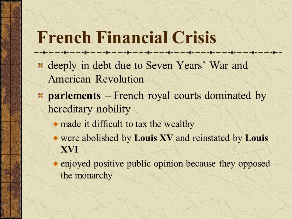 the financial crisi of the french
