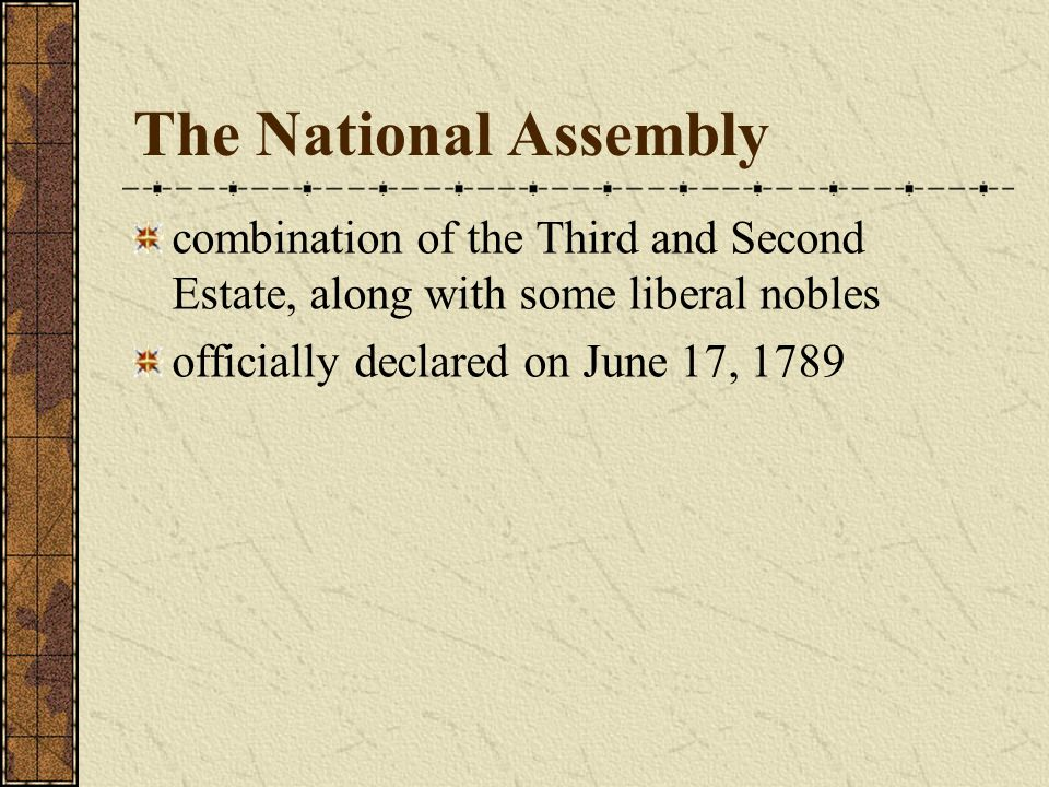 The National Assembly combination of the Third and Second Estate, along with some liberal nobles.