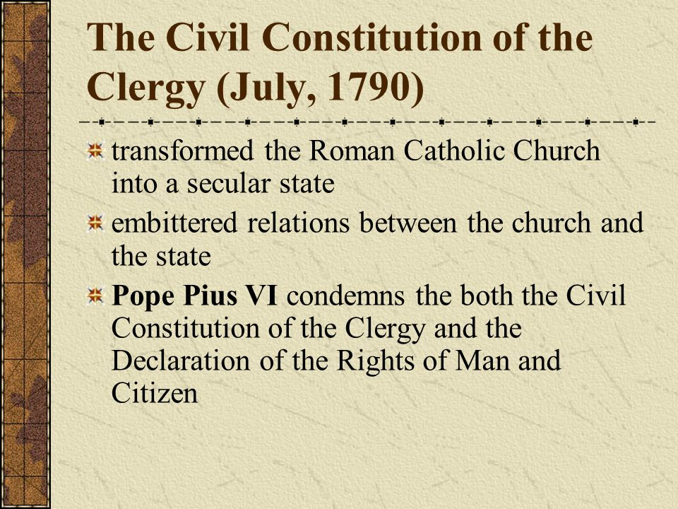 The Civil Constitution of the Clergy (July, 1790)