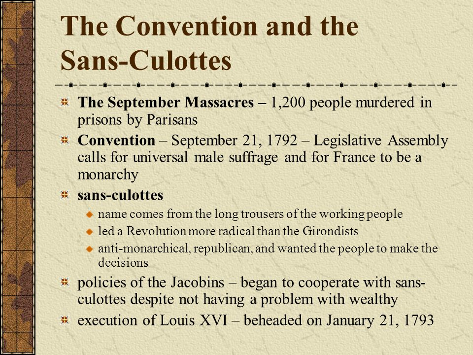 The Convention and the Sans-Culottes
