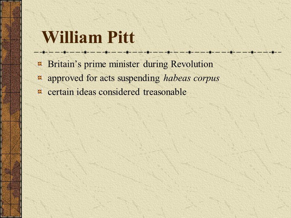 William Pitt Britain's prime minister during Revolution