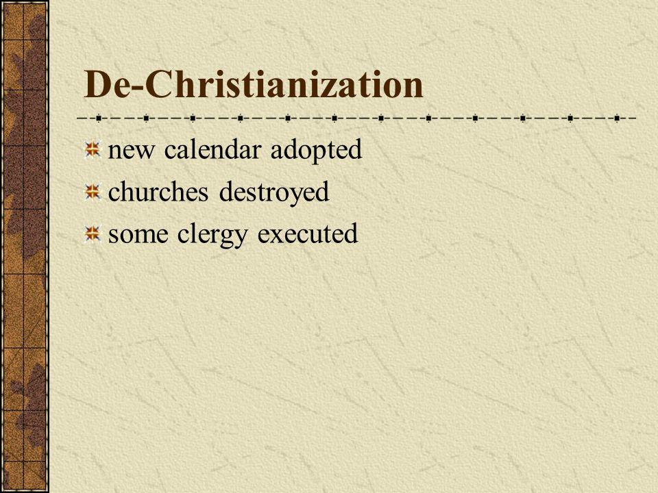 De-Christianization new calendar adopted churches destroyed