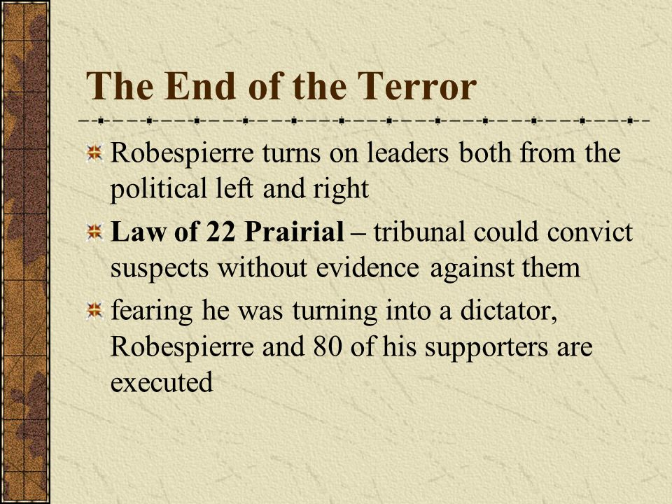 The End of the Terror Robespierre turns on leaders both from the political left and right.