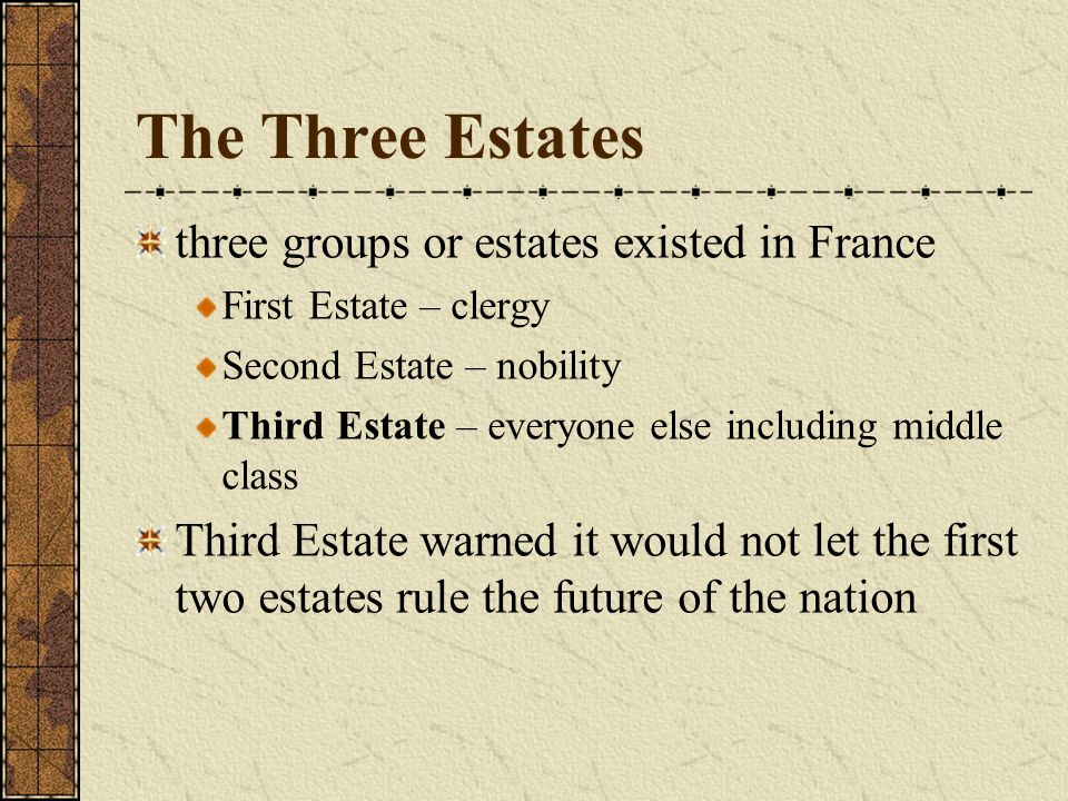 The Three Estates three groups or estates existed in France