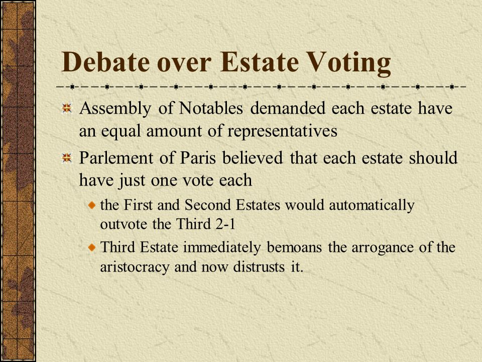 Debate over Estate Voting