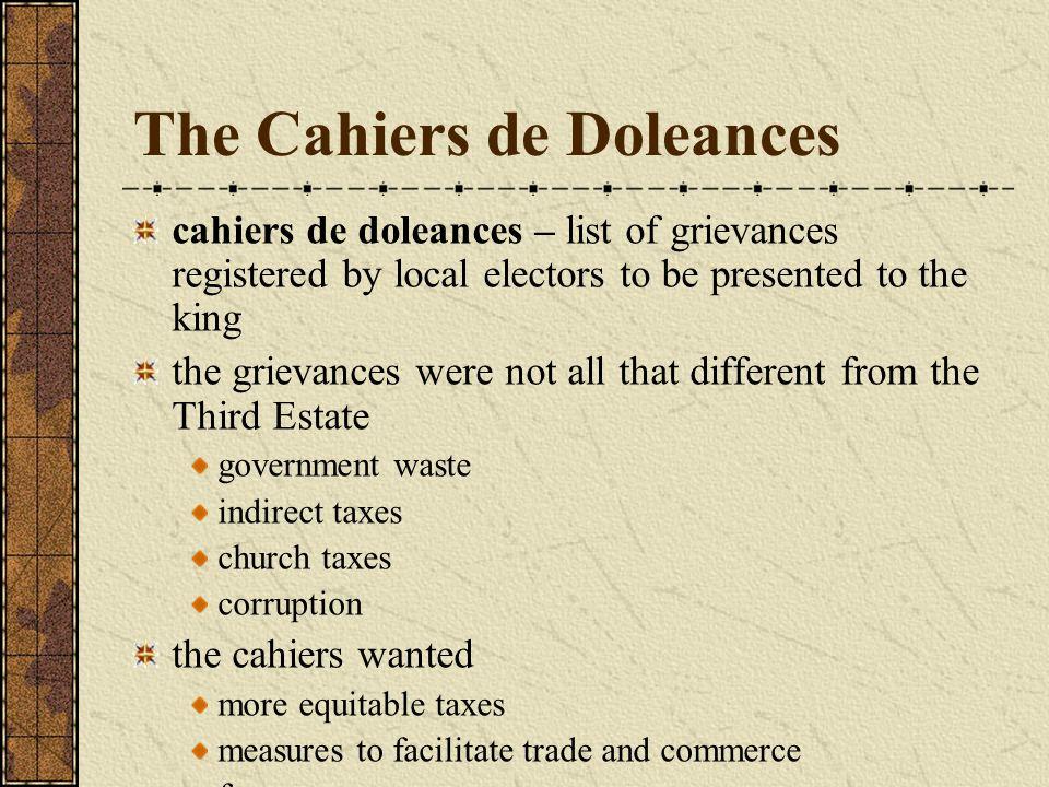 The Cahiers de Doleances