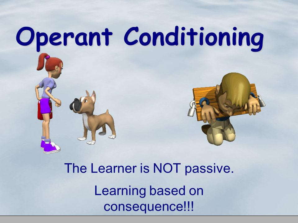 The Learner is NOT passive. Learning based on consequence!!!