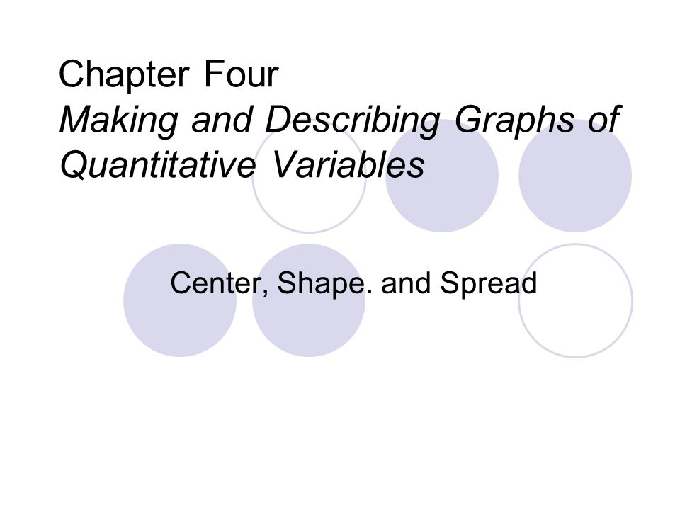 Chapter Four Making and Describing Graphs of Quantitative Variables