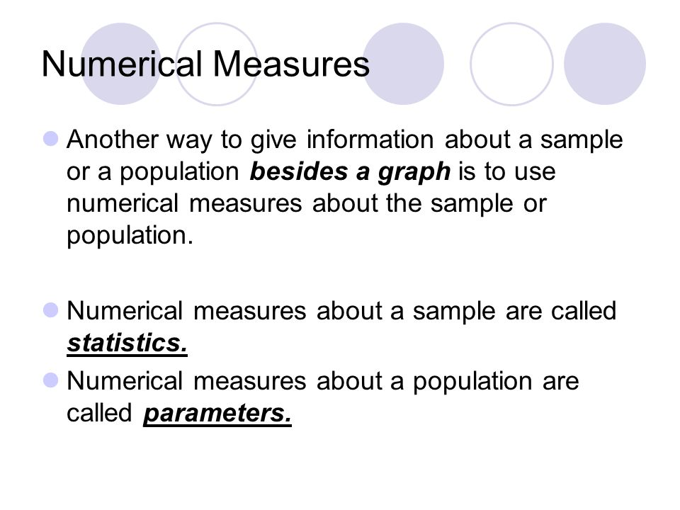 Numerical Measures