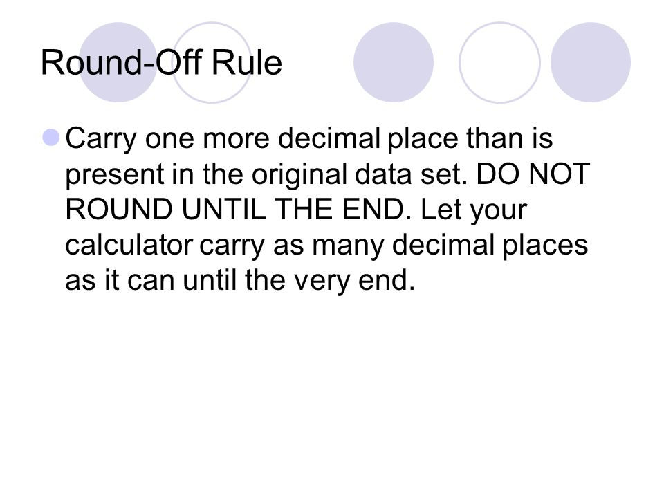 Round-Off Rule