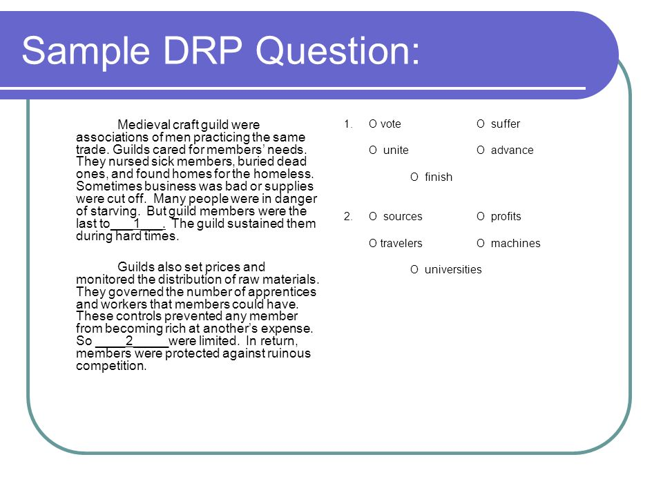 Sample DRP Question: