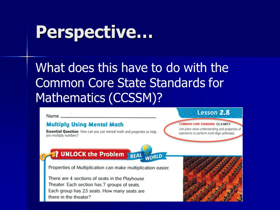 Perspective… What does this have to do with the Common Core State Standards for Mathematics (CCSSM)