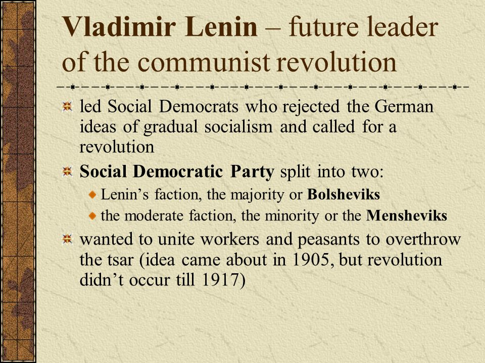 Vladimir Lenin – future leader of the communist revolution