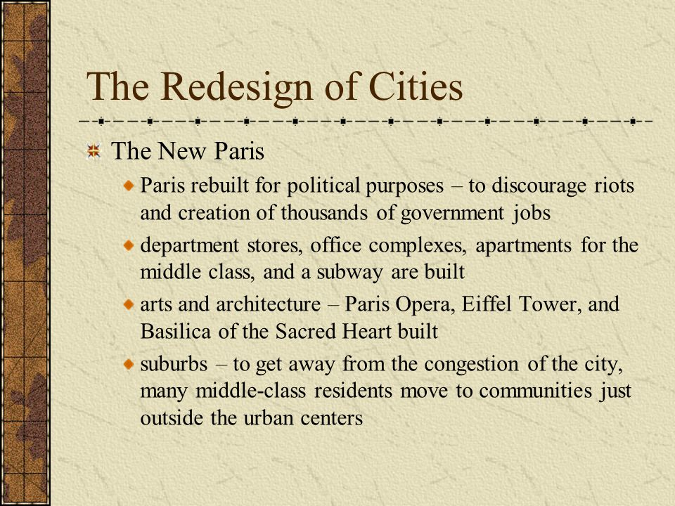 The Redesign of Cities The New Paris