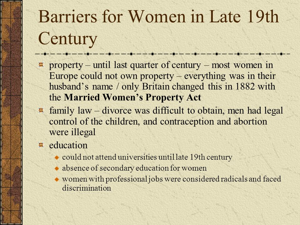 Barriers for Women in Late 19th Century