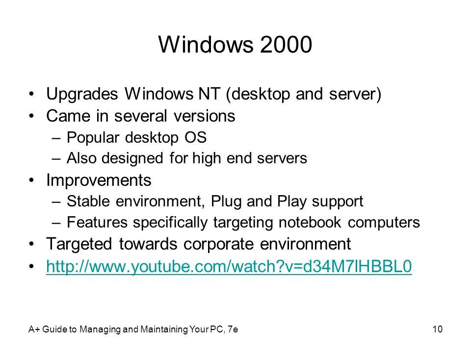 Windows 2000 Upgrades Windows NT (desktop and server)