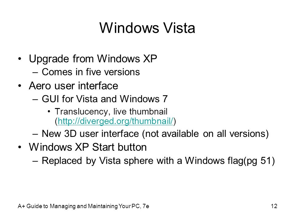 Windows Vista Upgrade from Windows XP Aero user interface