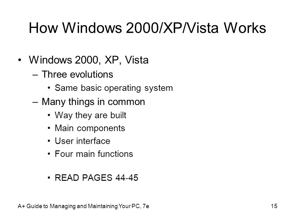 How Windows 2000/XP/Vista Works