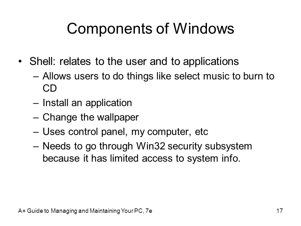 Components of Windows Shell: relates to the user and to applications