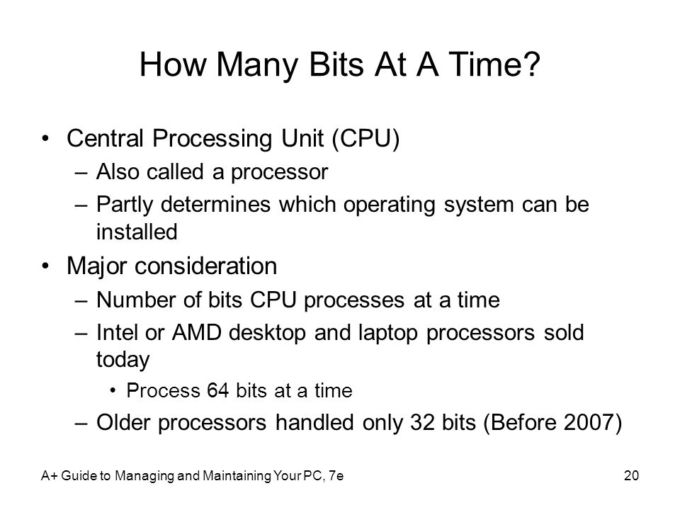 How Many Bits At A Time Central Processing Unit (CPU)