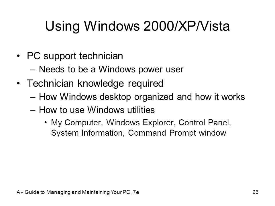 Using Windows 2000/XP/Vista