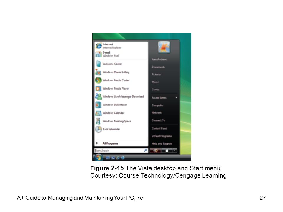 Figure 2-15 The Vista desktop and Start menu