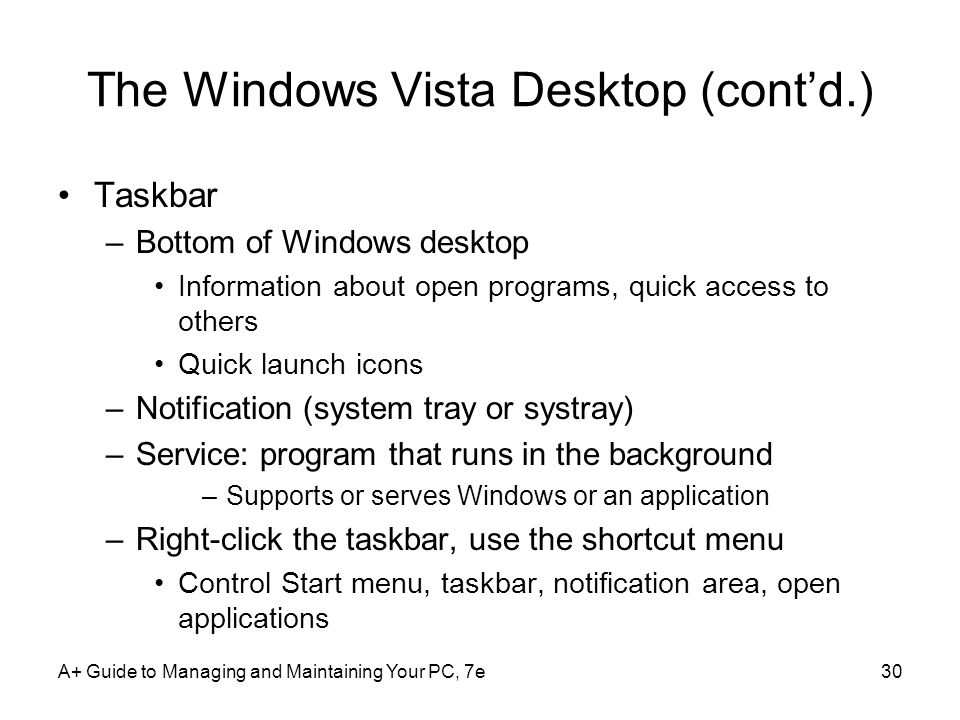 The Windows Vista Desktop (cont'd.)