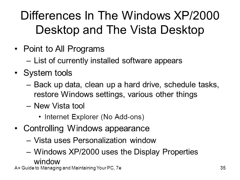 Differences In The Windows XP/2000 Desktop and The Vista Desktop
