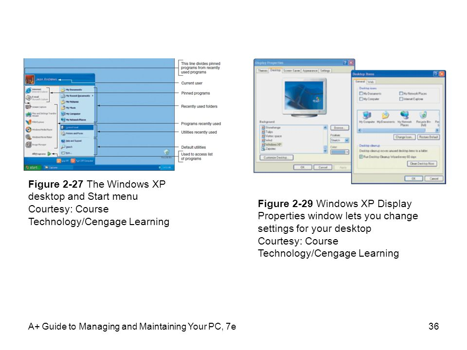 Figure 2-27 The Windows XP desktop and Start menu