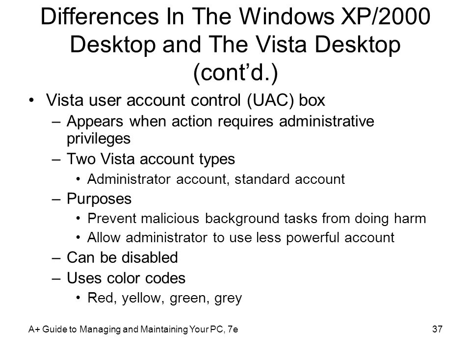 Differences In The Windows XP/2000 Desktop and The Vista Desktop (cont'd.)