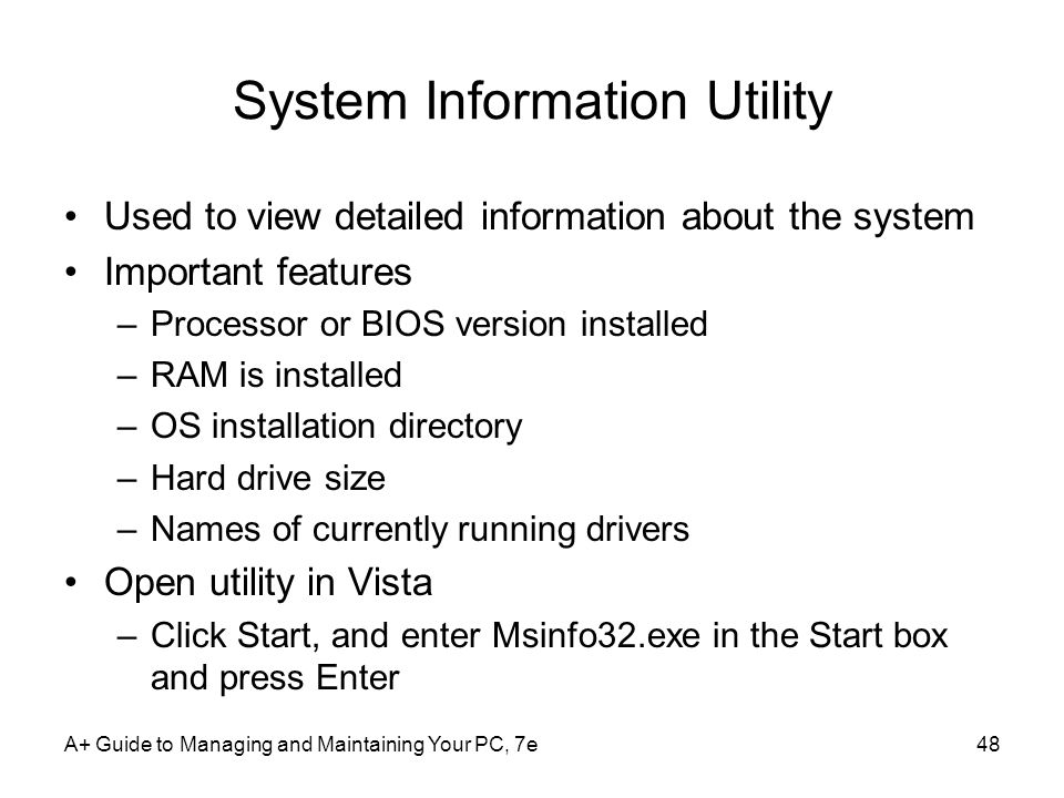 System Information Utility