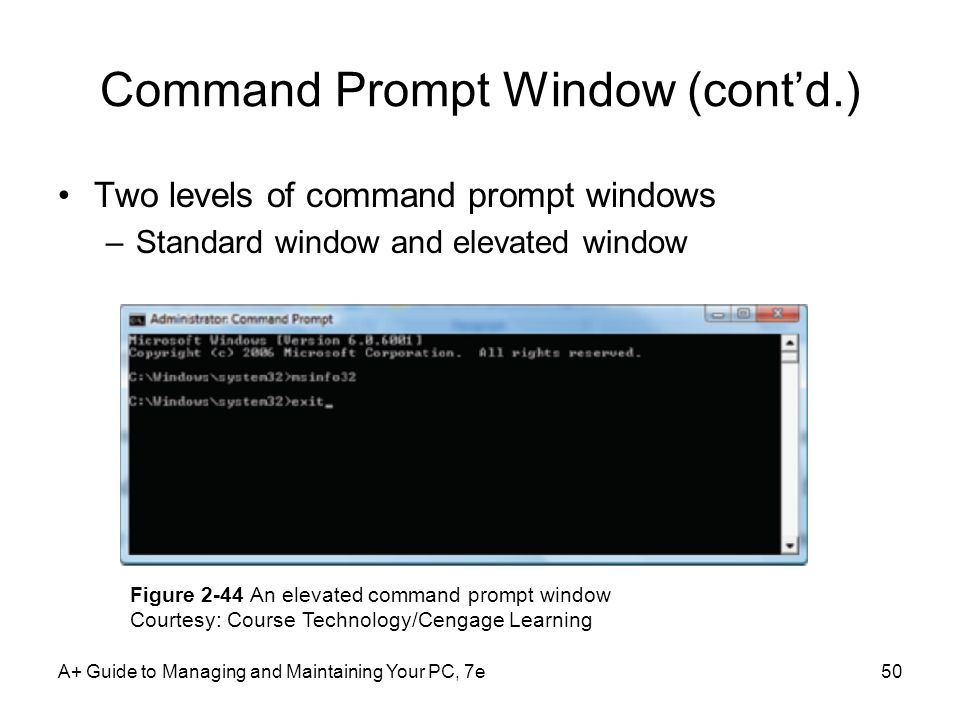 Command Prompt Window (cont'd.)