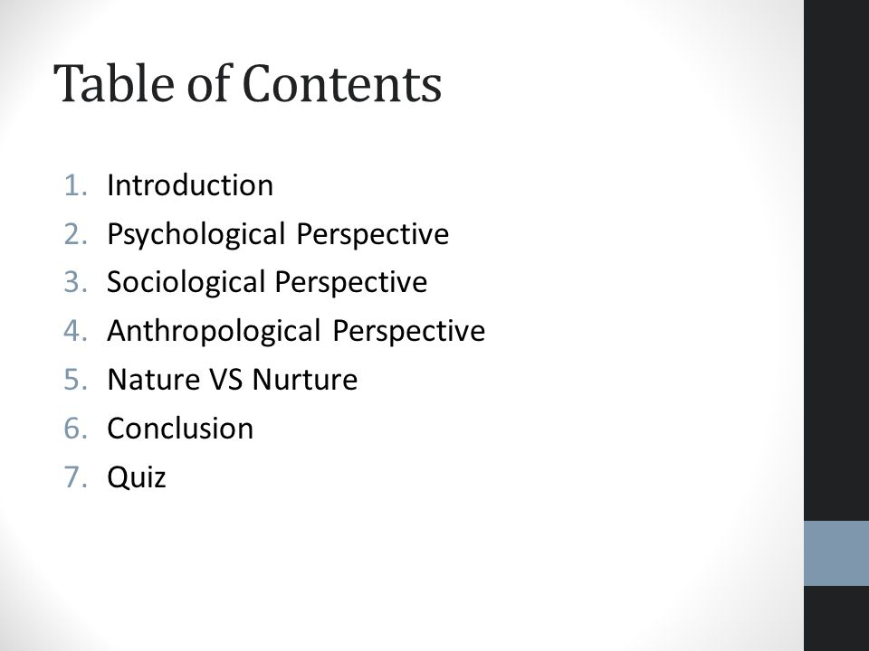 Table of Contents Introduction Psychological Perspective