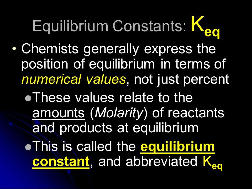 Equilibrium Constants: Keq