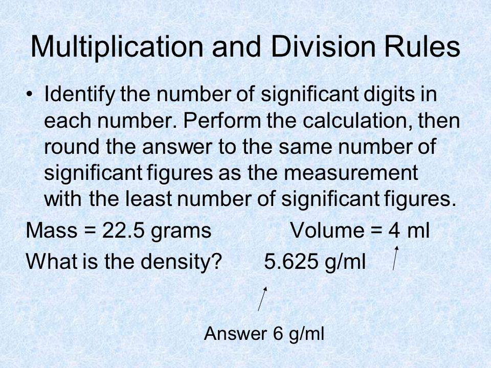 Multiplication and Division Rules