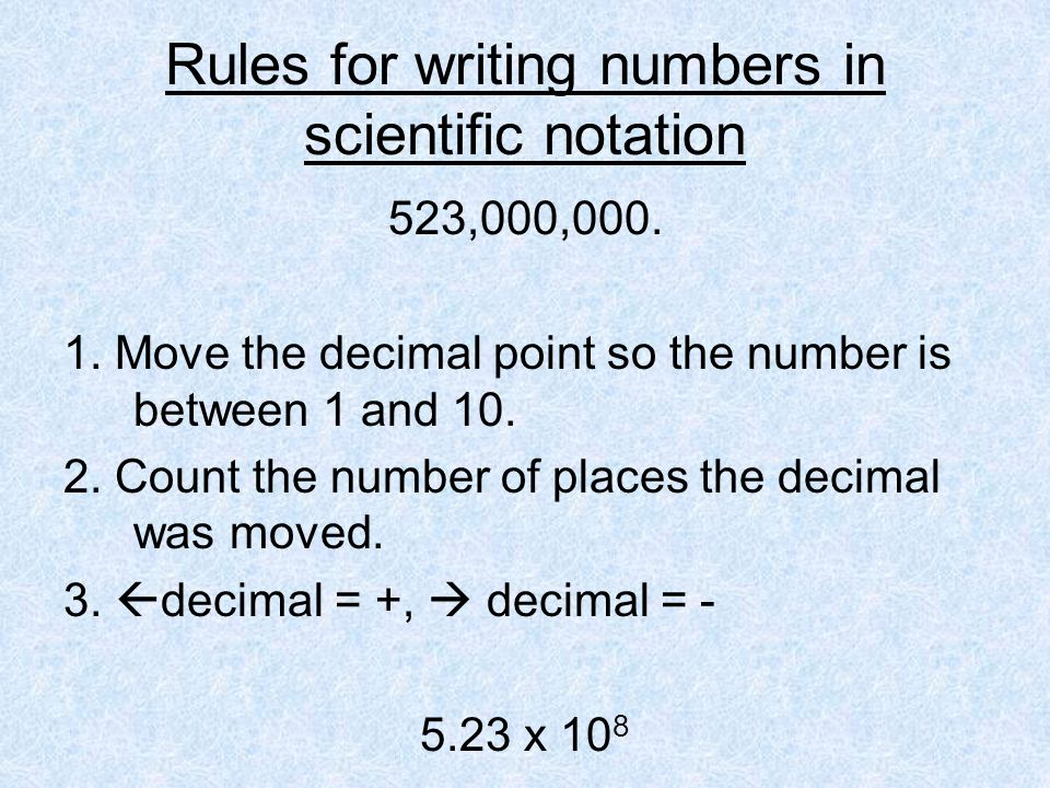 Rules for writing numbers in scientific notation
