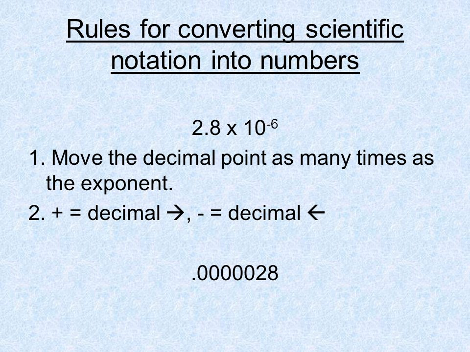 Rules for converting scientific notation into numbers