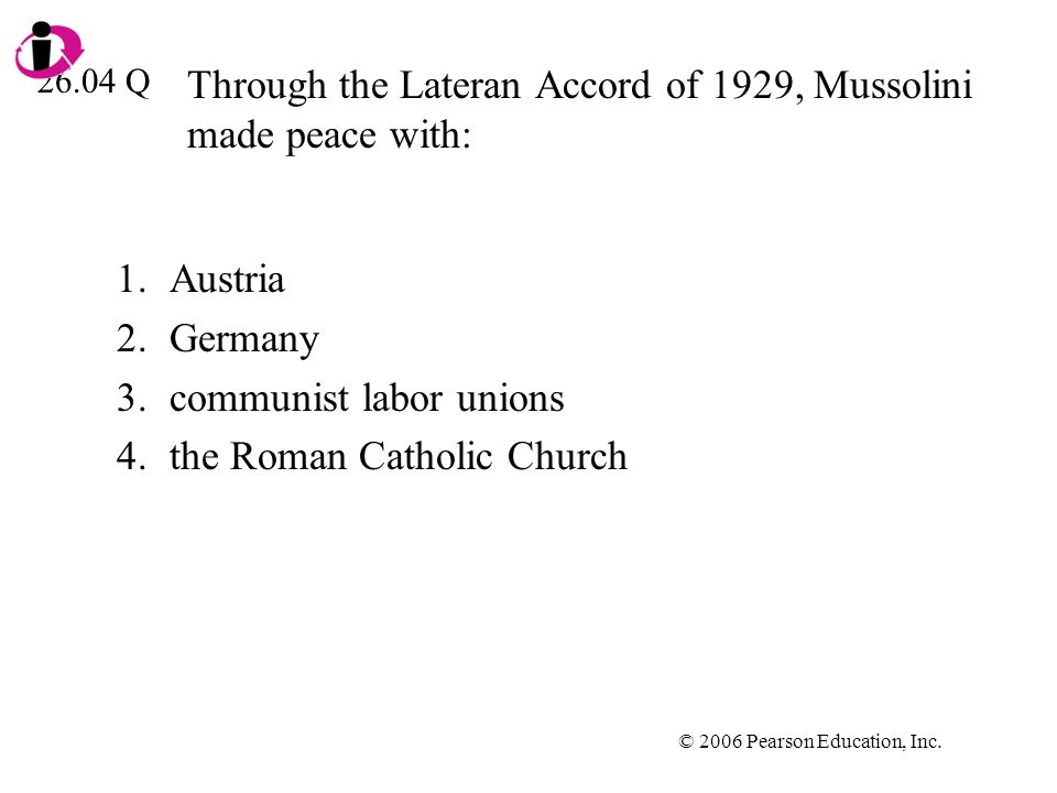 Through the Lateran Accord of 1929, Mussolini made peace with: