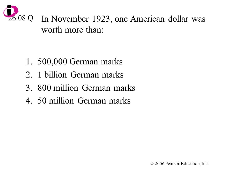 In November 1923, one American dollar was worth more than: